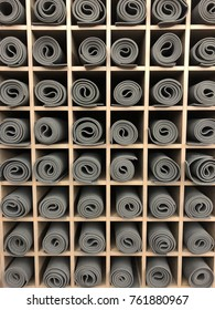 Yoga mats storage in studio