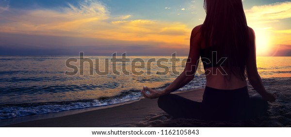 Yoga Meditation Banner Woman Lotus Pose Stock Photo Edit Now 1162105843