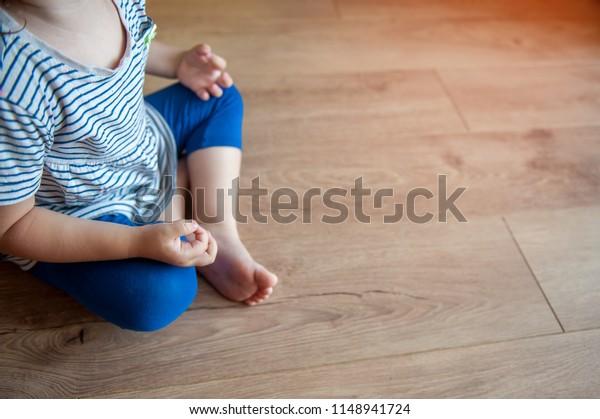 Yoga Meditation Kids Lotus Position Child Stock Photo (Edit