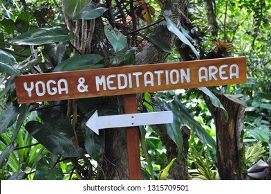 Yoga and Meditation Sign in the Jungle at a Retreat