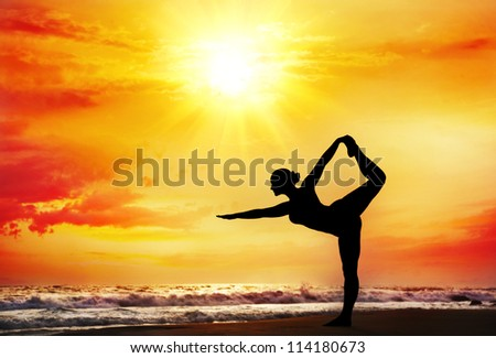 yoga natarajasana dancer posewoman stock photo edit