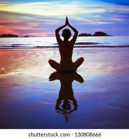 yoga on the beach, abstract photo about healthy lifestyle