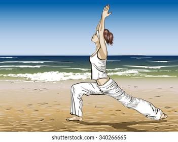 Yoga on a beach. Raster version