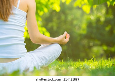 Yoga outdoors. Concept of healthy lifestyle and relaxation