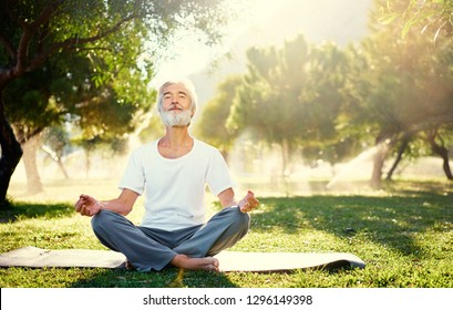 Yoga at park. Senior bearded man in lotus pose sitting on green grass. Concept of calm and meditation.