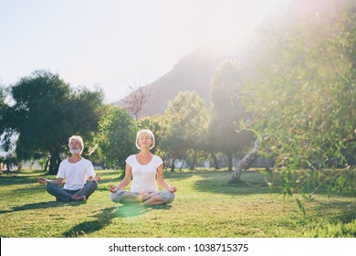 Yoga at park. Senior family couple  sitting in lotus pose on green grass. Concept of calm and meditation.