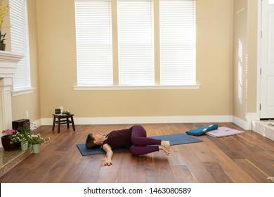 Yoga pose Supine Twist deep right