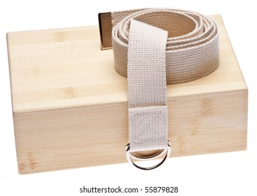 Yoga Practice Equipment : Bamboo Block and Strap Isolated on White with a Clipping Path.