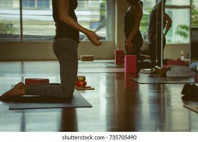 Yoga practice exercise class indoor.