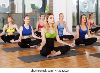 Yoga relaxation asana. Group of young women in sport class making exercises. Girls do meditation pose for relax. Healthy lifestyle in fitness club