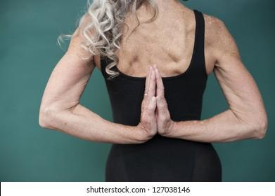 Yoga senior woman.