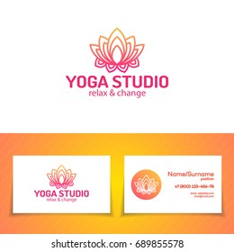 Yoga studio logo set consisting of flower lotus for use yoga school, center, meditation class. Health care, sport, fitness logo design elements.