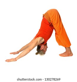 Yoga teacher shows postures (asanas)