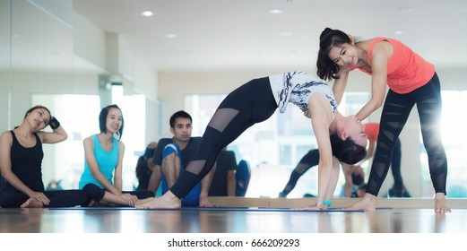 Yoga trainer teach yoga student about diffical action in yoga classroom, Fitness center activity, lady coach teach her student.
