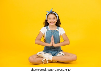 Yoga training. KId adorable girl sit meditate. Meditating practice. Life balance. Good vibes. Peaceful meditating. Learn meditating techniques. Stay positive and optimistic. Private space to relax.
