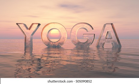 Yoga in water at sunrise 3d render