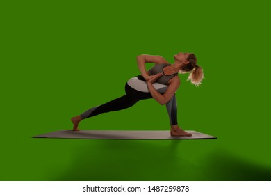 Yoga woman isolated on green screen.