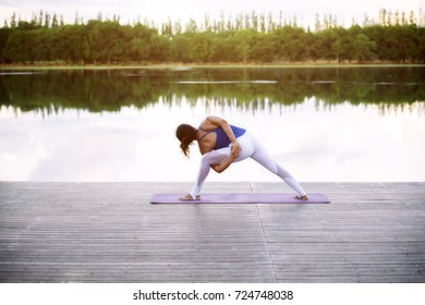 Yoga woman strong action pose yoga exercise for health