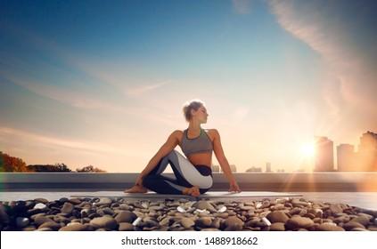 Yoga woman. Young woman doing yoga in morning.