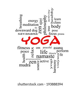 Yoga Word Cloud Concept in red caps with great terms such as fitness, peace, pose and more.