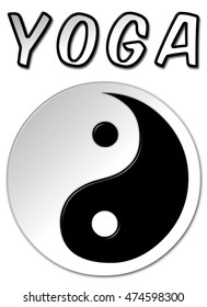 Yoga Yin Yang symbol in black and white with a bevel effect on an isolated white background