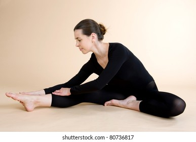 Yoga. Young girl goes in for sports.