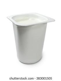Yoghurt pot, isolated on white.