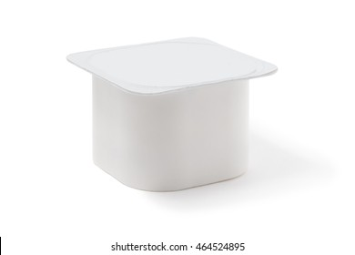 yoghurt pot on the white background with clipping path