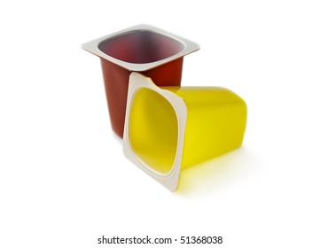 Yoghurt pots isolated on white