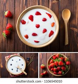 yoghurt strawberry eating healthy food Wooden plate spoon Vintage background