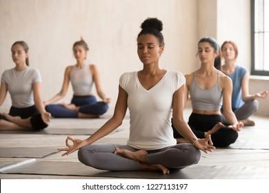 代々木の黒人女性や、ヨガ、パドマサナの練習、ハスポーズ、室内での女子学生の研修など、スポーツの多様な若者のグループ。福祉のコンセプト
