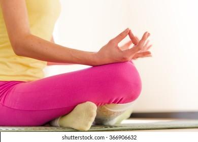 Yogi girl meditating