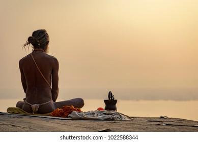 yogi on the shore of the Gang, Varanasi, India, November 2015