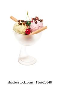 yogurt and chocolate ice cream in a bowl close up