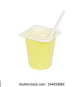 yogurt cup with spoon isolated on white background