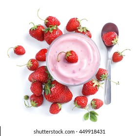 Yogurt with fresh strawberry isolated on white background. Top view, high resolution product.