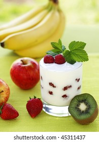 Yogurt with with fruit composition.