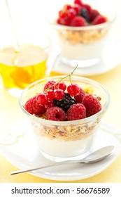 yogurt with muesli ,berries and honey