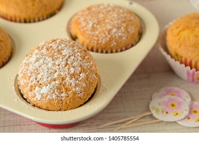 Yogurt muffins with healthy and simple ingredients on a table