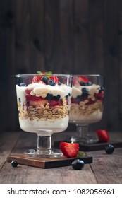 Yogurt parfait made with Greek yogurt, fresh berries and oats.