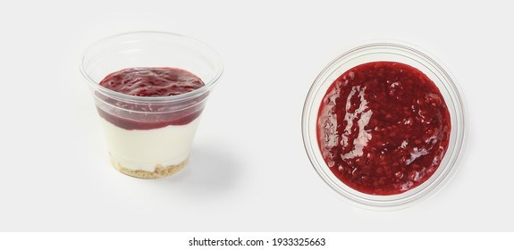 yogurt with raspberry jam on a white background in a container for a food delivery service