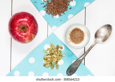 yogurt with seeds on wooden table