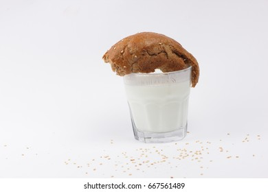 Yogurt in a transparent glass