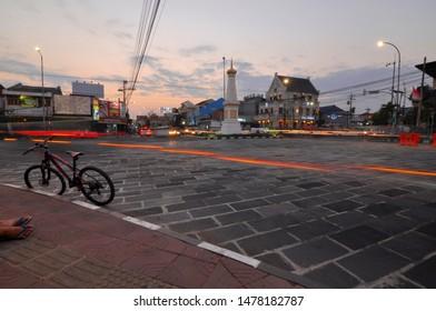Yogyakarta, 13 August 2019 : sunset view at Tugu Jogja.