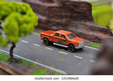 Yogyakarta, 15 Februari 2019 : Hotwheels diecast model car. Hotwheels diecast made in Malaysia. This is Ford F-150 diecast car.