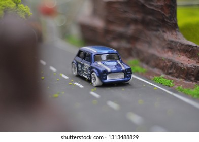 Yogyakarta, 15 Februari 2019 : Hotwheels diecast model car. Hotwheels diecast made in Malaysia. This is Morris Mini diecast car.