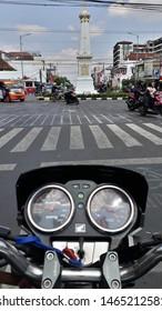 Yogyakarta, 30 July 2019 : traffic at Tugu Jogja.