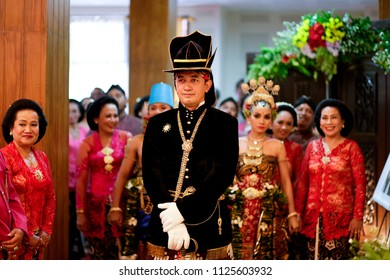 YOGYAKARTA APRIL 2015 - Javanese guardian is standing in front of marriage couple during wedding ceremonial in Yogyakarta
