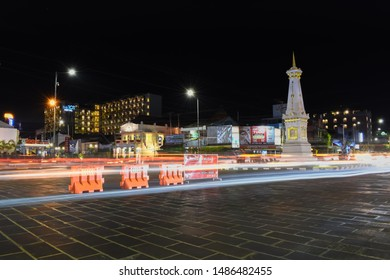 Yogyakarta, August 23, 2019 : Tugu Jogja or Yogyakarta Monument at night. Tugu Jogja is the most popular landmark of Yogyakarta.