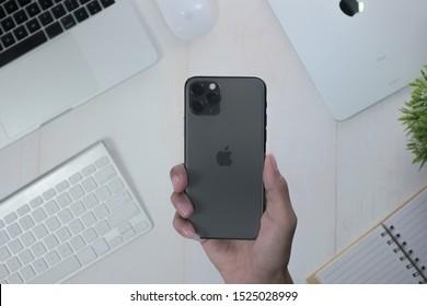 Yogyakarta, IDN - Oct 6, 2019 : iphone 11 pro. Iphone 11 pro. New Apple Iphone 11 Pro in hand.